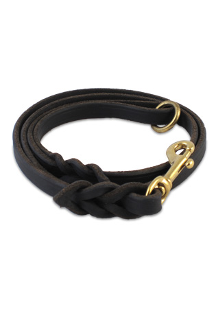Braided amish leather lead in collars lines leads amish leather braided lead black with o ring fandeluxe Choice Image