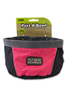 The Outward Hound Travel Bowl in Pink